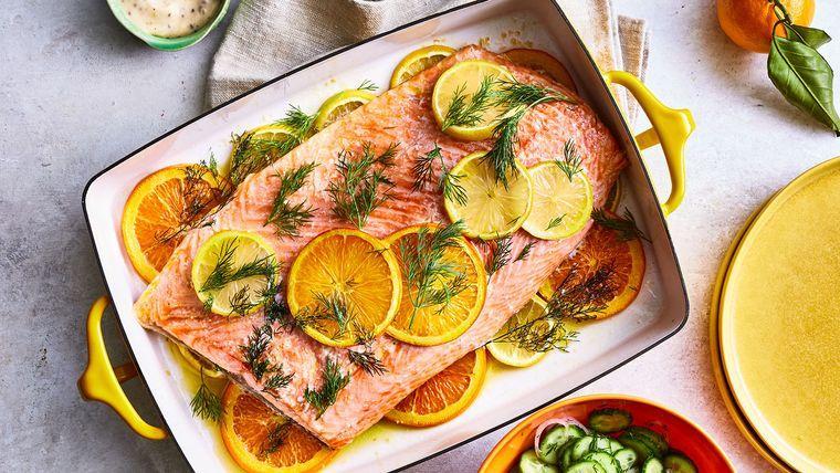 cena san valentín salmon asado