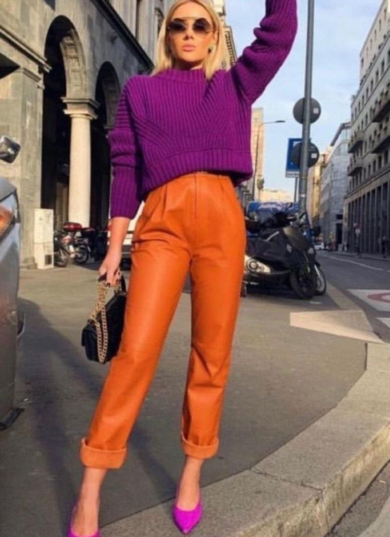 color naranja con purpura