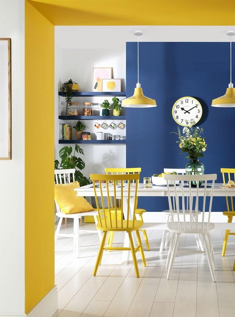 combinación de colores amarillo azul