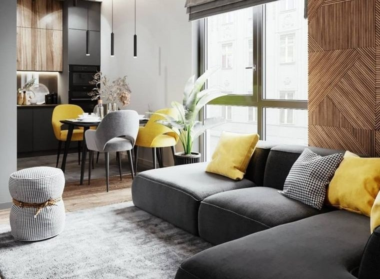 combinación de colores gris amarillo