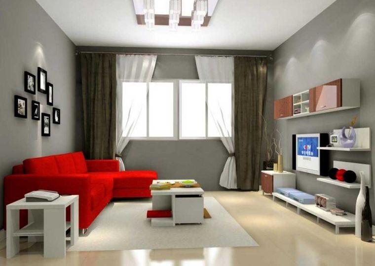 combinación de colores gris mueble rojo