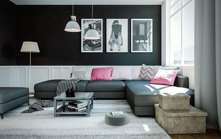 combinación de colores pared negra