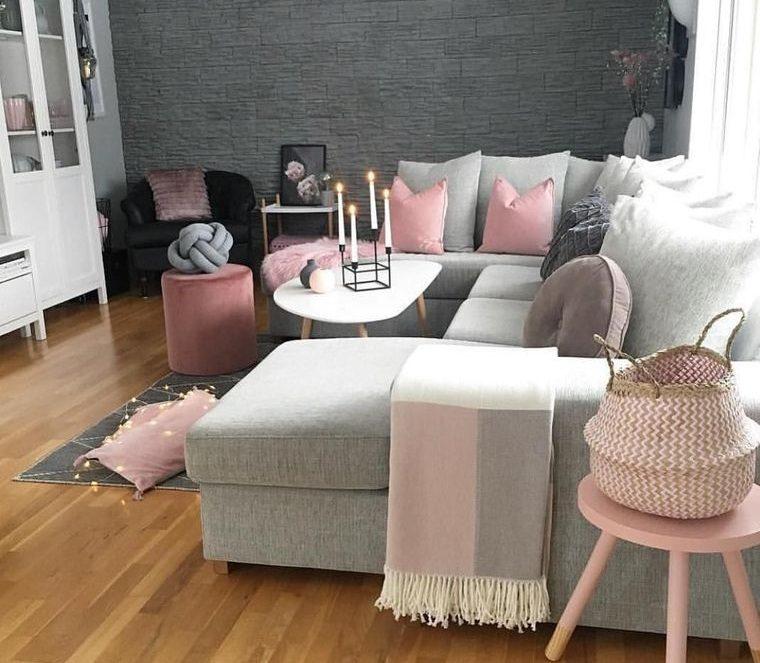 combinación de colores rosa gris