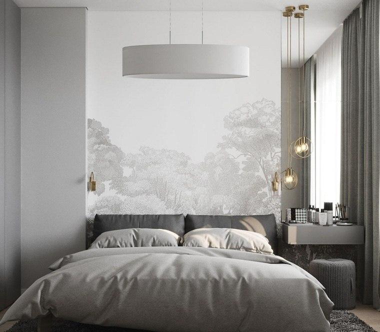 como-decorar-un-dormitorio-pequeno-color gris