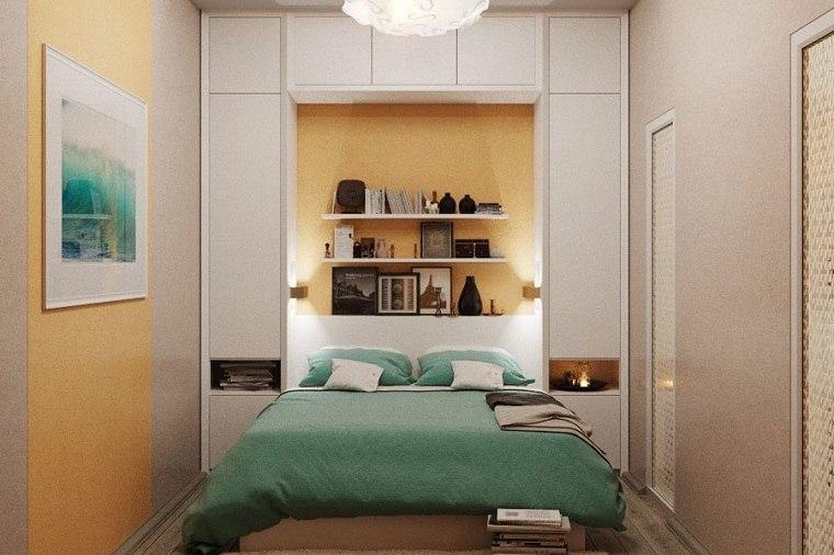 como-decorar-un-dormitorio-pequeno-pared-muebles