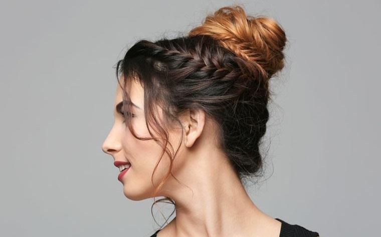 cuidado del cabello peinado con moño