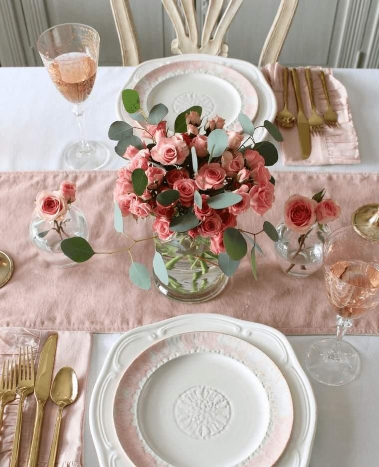 decoración romántica blanco rosa