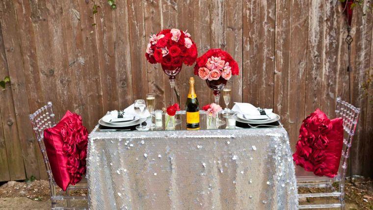 decoración romántica cena exterior
