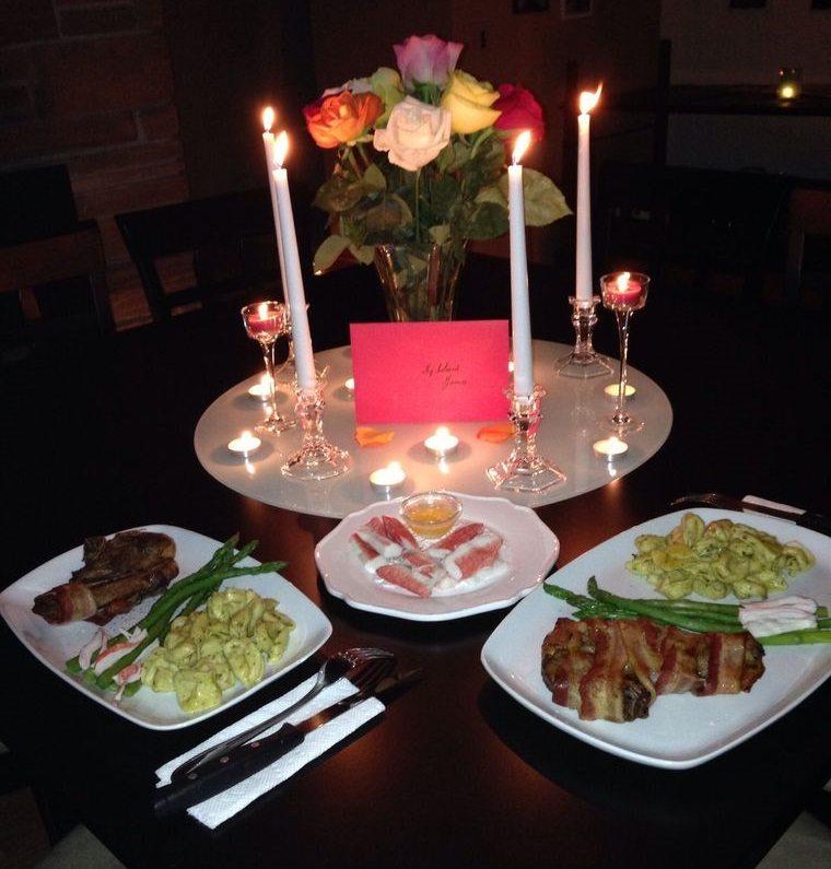 decoración romántica cena para dos