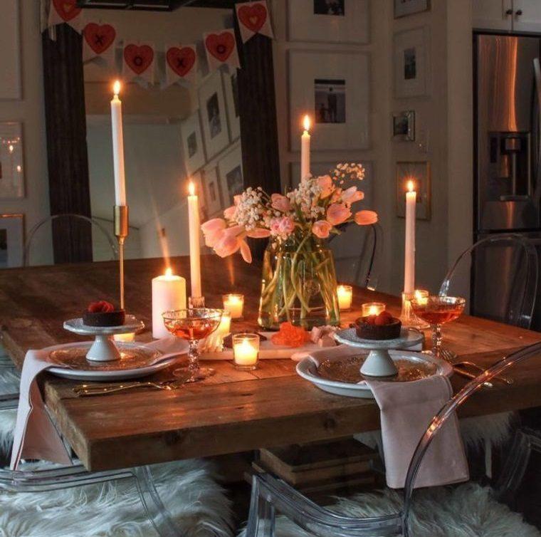 decoración romántica cena