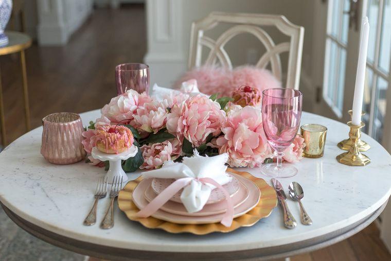 decoración romántica centro de mesa
