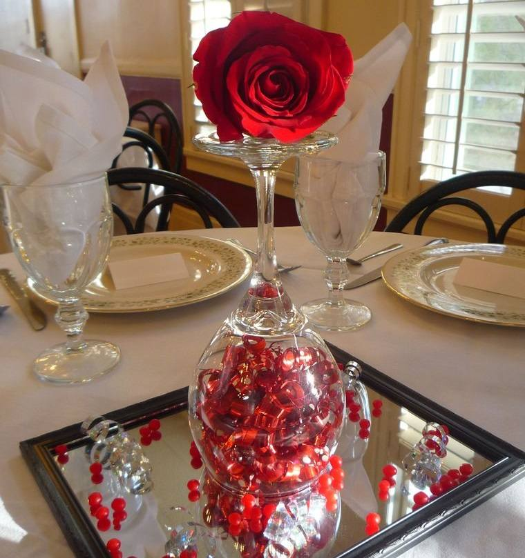 decoración romántica elegante centro de mesa