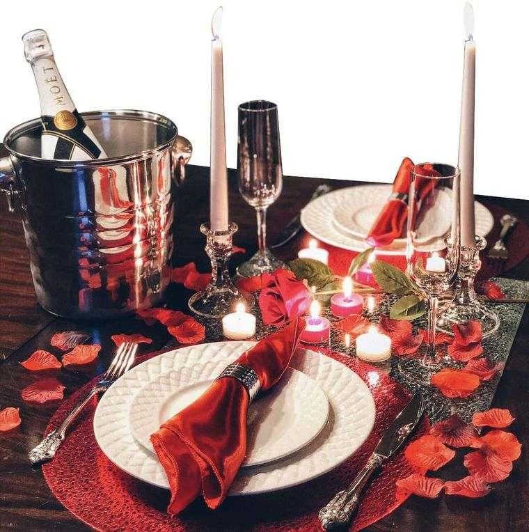 decoración romántica mesa cena