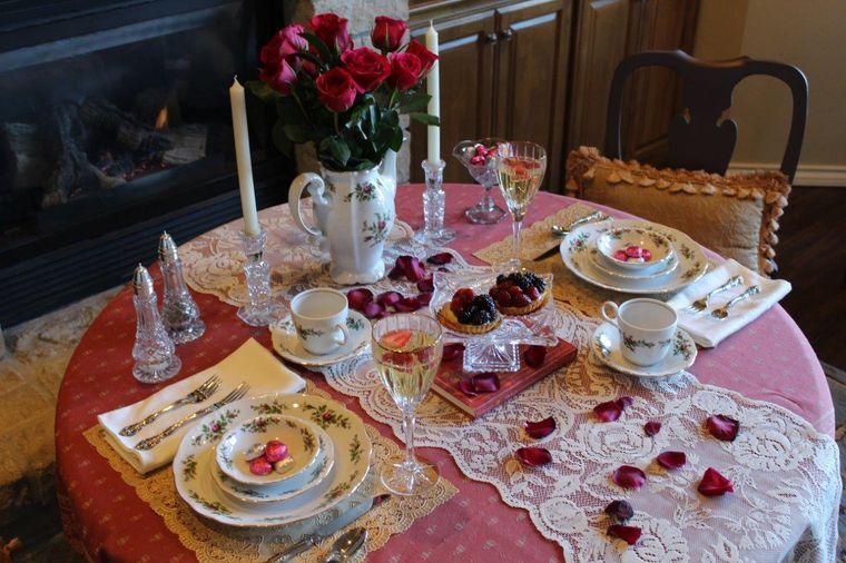 decoración romántica mesa elegante