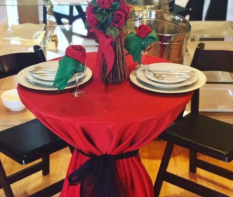 decoración romántica mesa pequeña