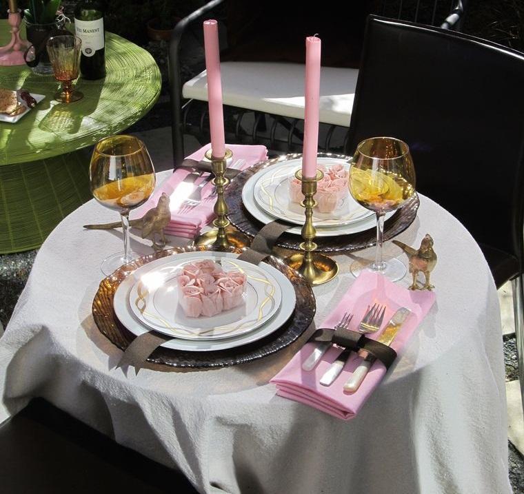 decoración romántica mesa sofisticada