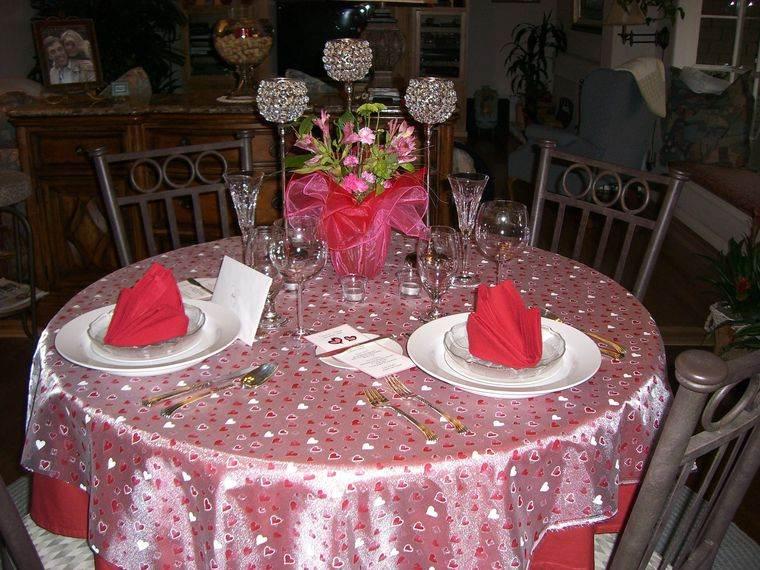 decoración romántica mesa