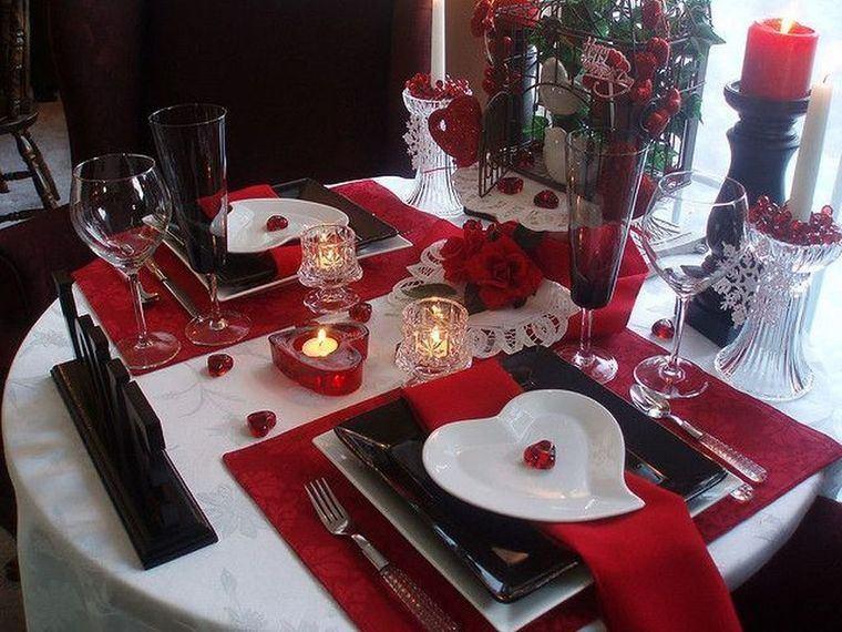 decoración romántica rojo negro