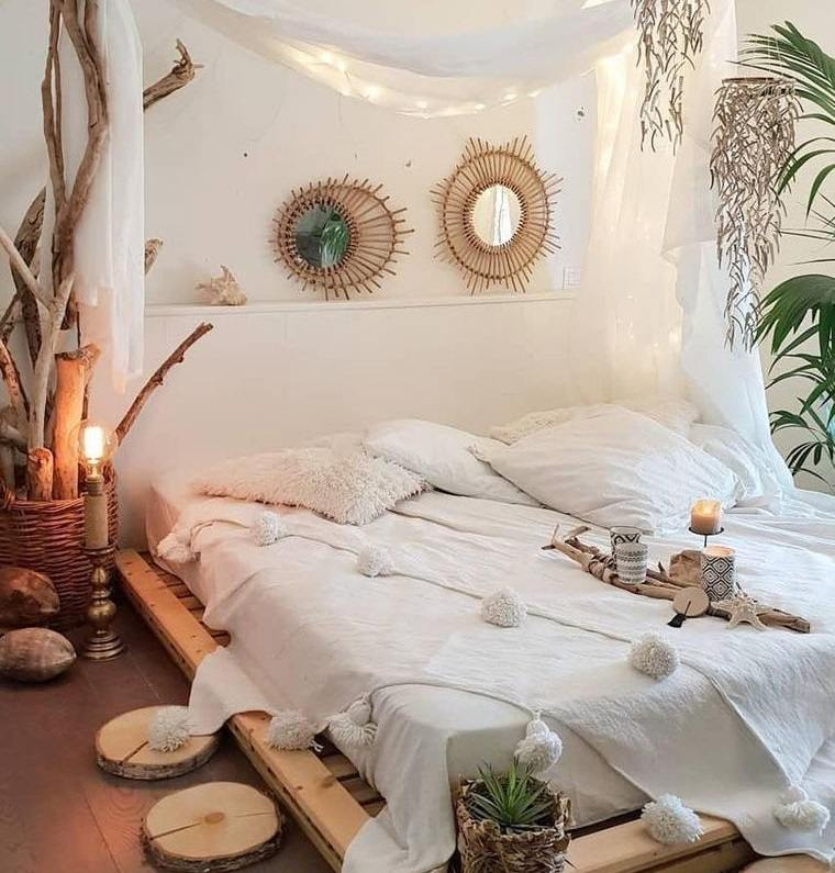dormitorios con troncos plantas