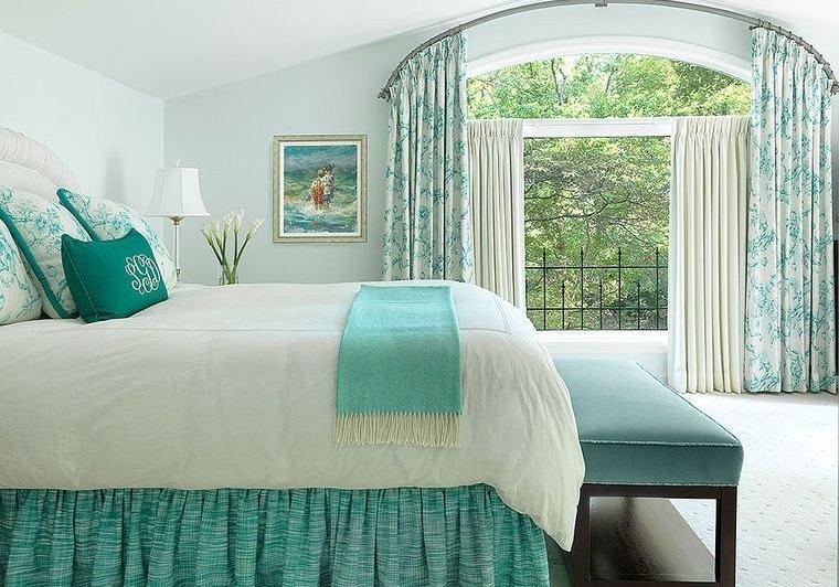 dormitorios cortinas combinadas cojines