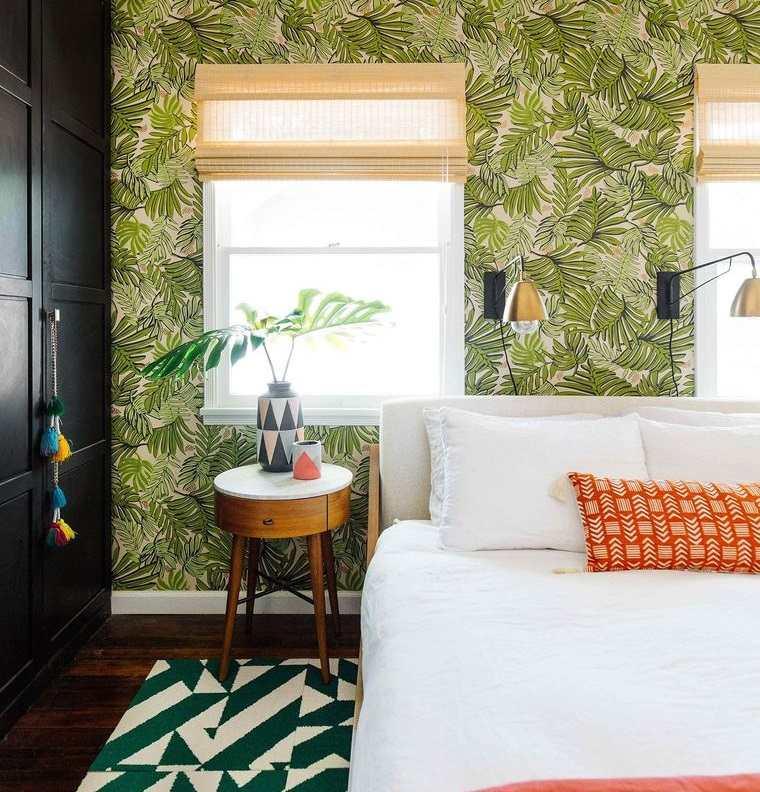 dormitorios papel tapiz botanico