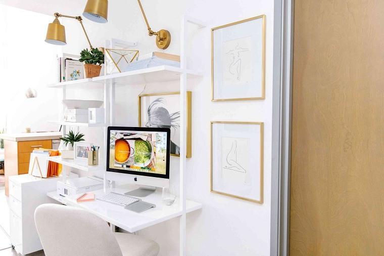 home office-blanco-dorado-ideas-diseno
