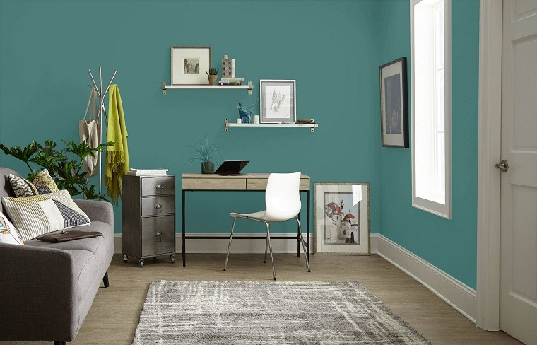 home office-pared-color-verde