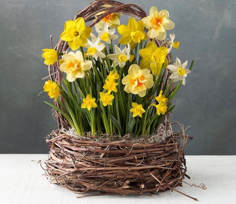 ideas para decorar flores en cesta