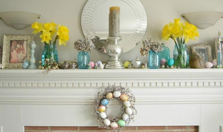 ideas para decorar flores repisa chimenea