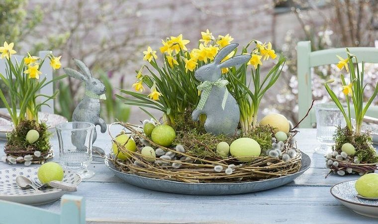 ideas para decorar narcisos mesa pascua