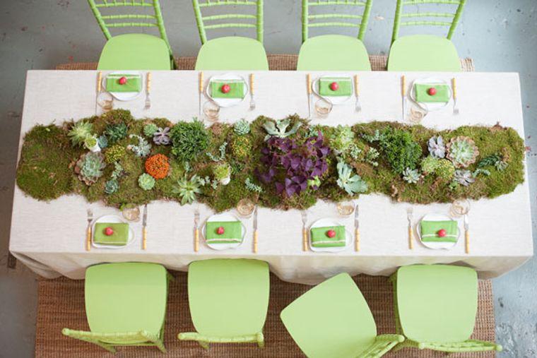 musgo para decorar camino de mesa