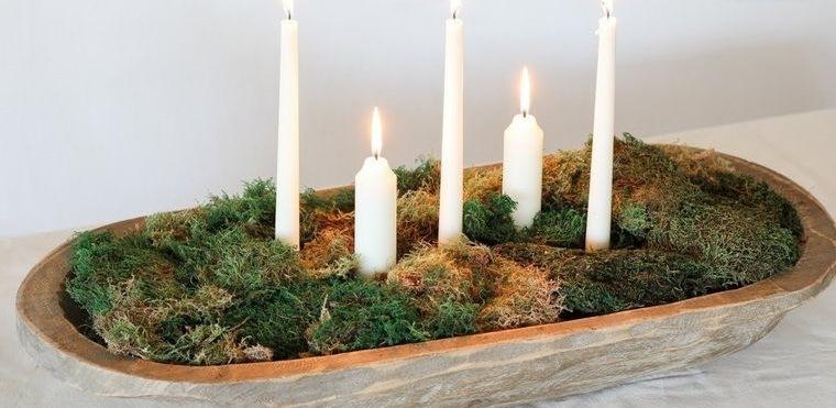 musgo para decorar con velas