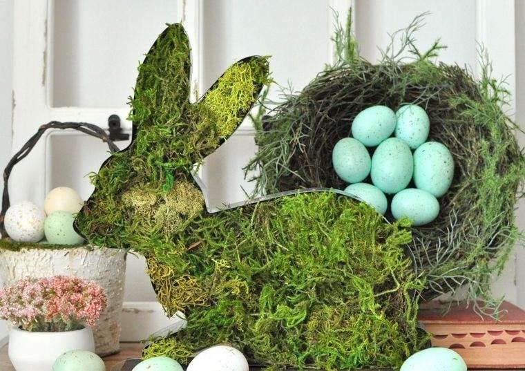 musgo para decorar conejo huevos pascua