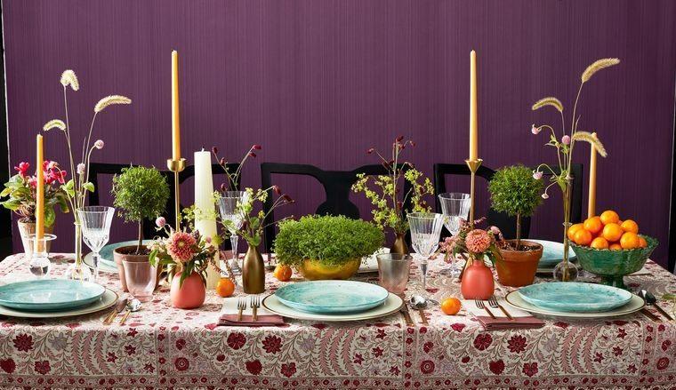 musgo para decorar mesa colorida
