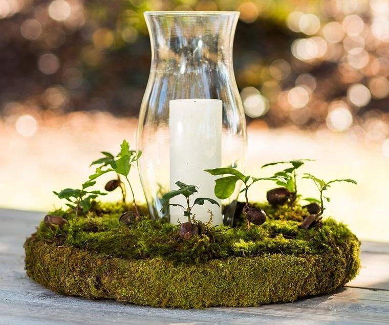musgo para decorar mesa elegante