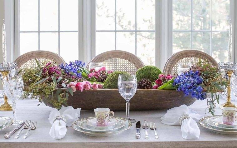 musgo para decorar sencillo centro de mesa