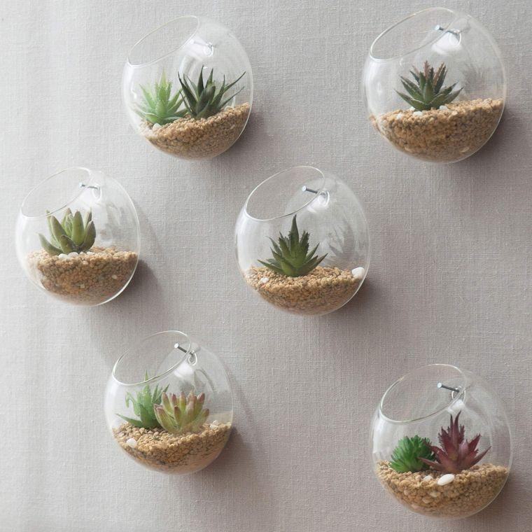 terrarios de cristal en pared