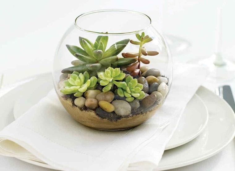 terrarios de cristal para adornar mesa
