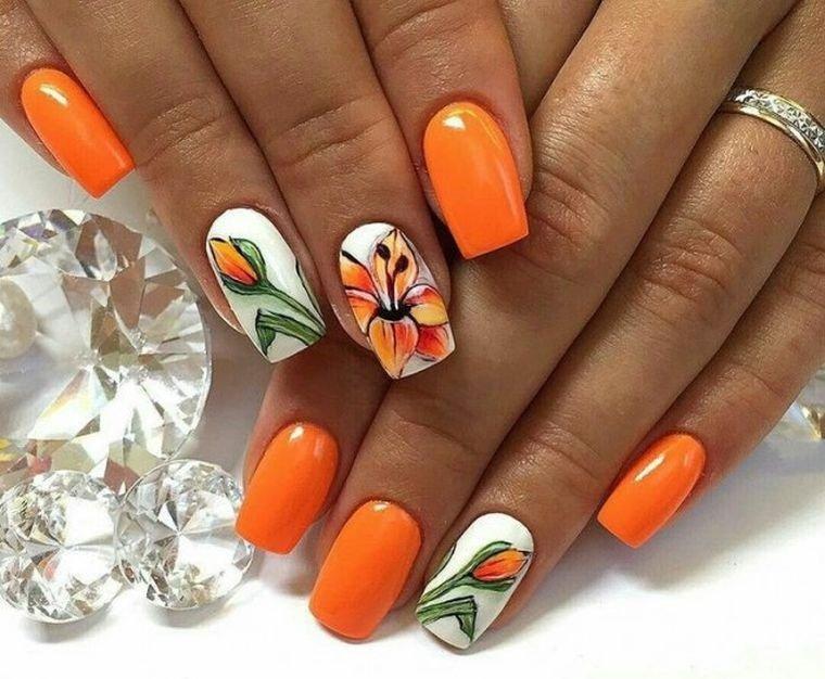 uñas decoradas color naranja