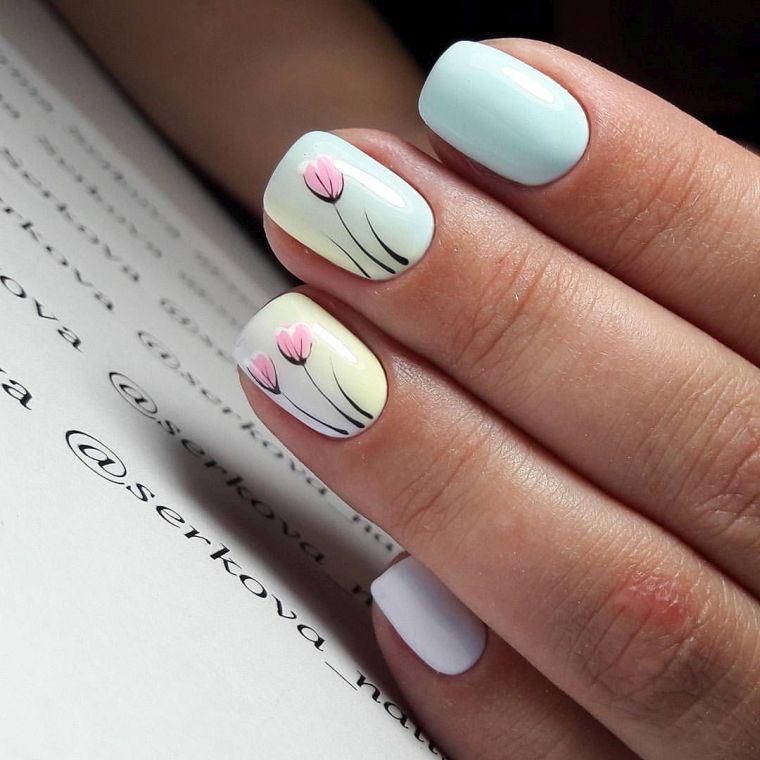 uñas decoradas colores sutiles