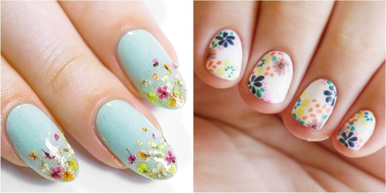 uñas decoradas diseño flores