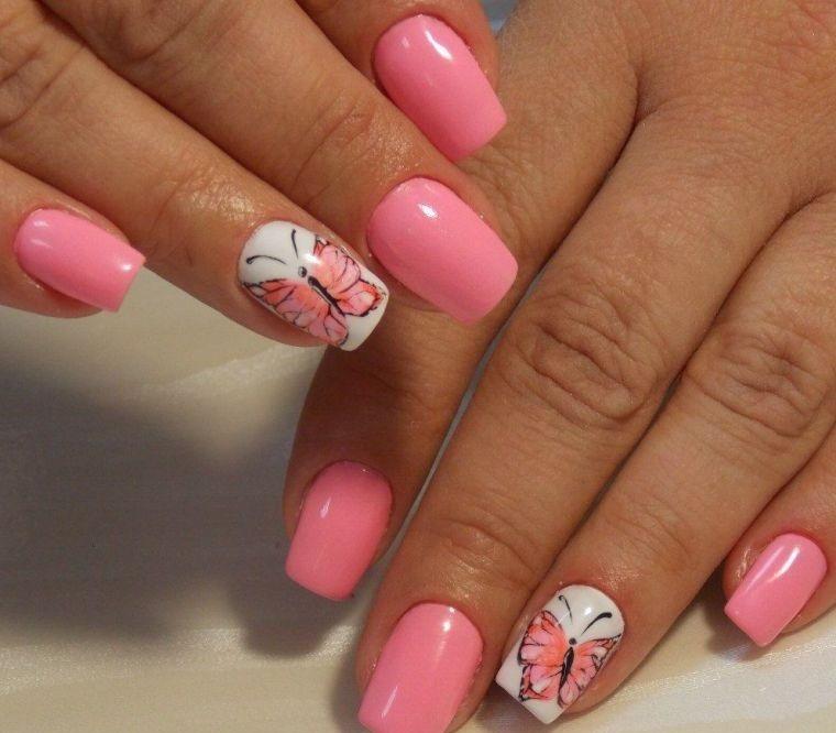 uñas decoradas diseño mariposa