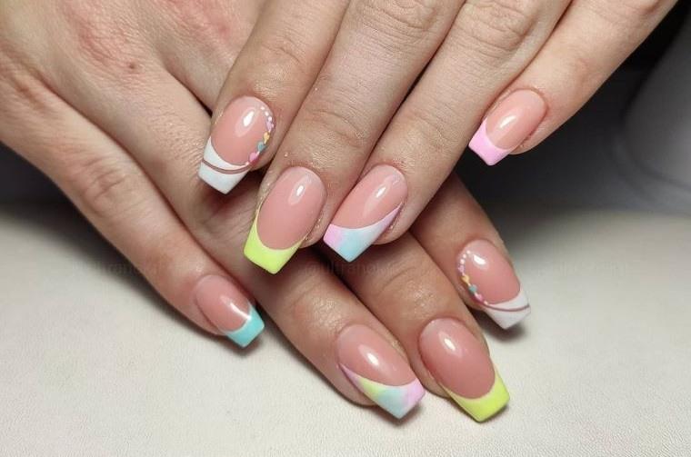 uñas decoradas francesa de colores