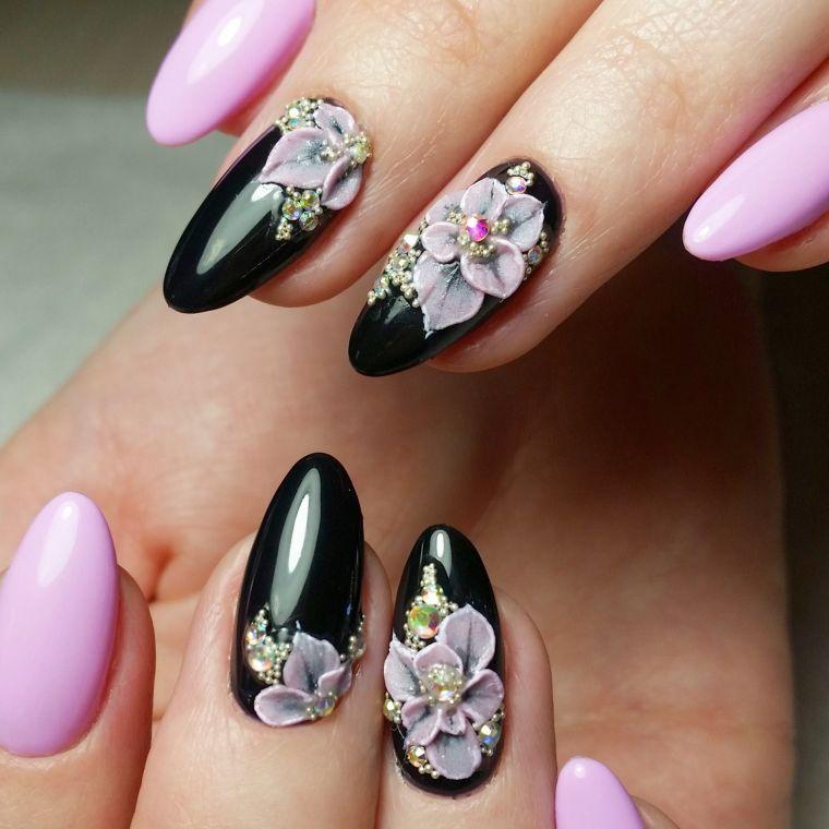uñas decoradas negro rosa