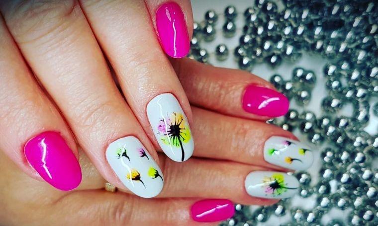 uñas decoradas rosa blanco