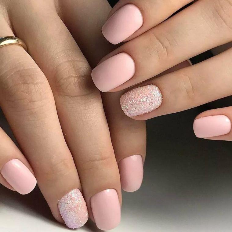 uñas decoradas rosa brillo