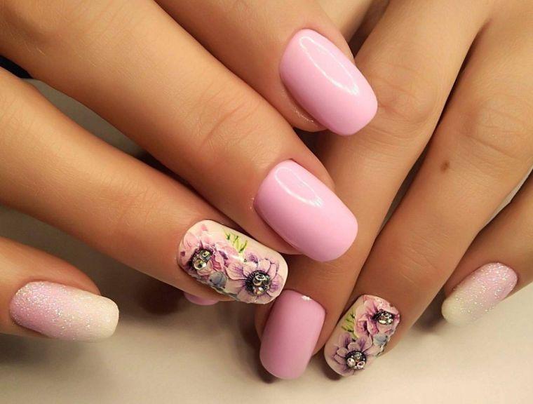 uñas decoradas rosa