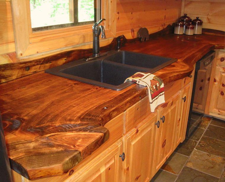 encimeras de cocina madera borde vivo