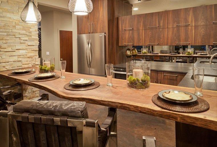 encimeras de cocina madera de borde vivo
