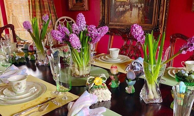 flores de jacinto para decorar mesa